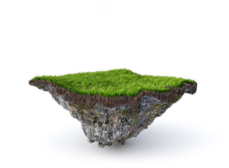 Empty flying island. Piece of ground isolated on a white background. 3d illustration
