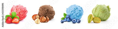 Obraz na płótnie set of different ice cream on a white background