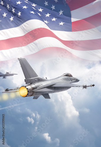 F-16 Fighting Falcon jets (models) fly through clouds with American flag Canvas Print