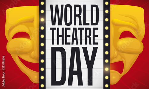 Photo Golden Masks and Sign with Bulbs Presenting World Theatre Day, Vector Illustrati