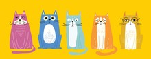 Cool Cats. Vector Trendy Hipster Style Greeting Card Design, T-shirt Print, Inspiration Poster.