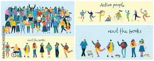 Fototapeta Vector illustration in a flat style of group of different activities of people obraz