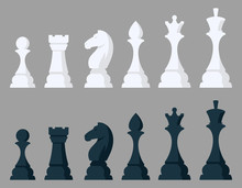 Set Of Chess Pieces. Black And...