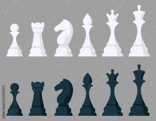 Photo Set of chess pieces. Black and white objects in cartoon style.