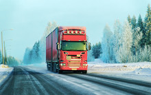 Lorry On Road In Winter Rovani...