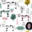 Hand drawn vector cute cartoon illustration seamless pattern colorful cow, tree, cloud for texture t-shirt, baby textile, other clothes or linen print