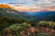 Sunset In The Crested Butte Mountains With Wildflowers In The Summer