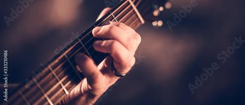 Fototapeta Hand on Guitar Neck obraz