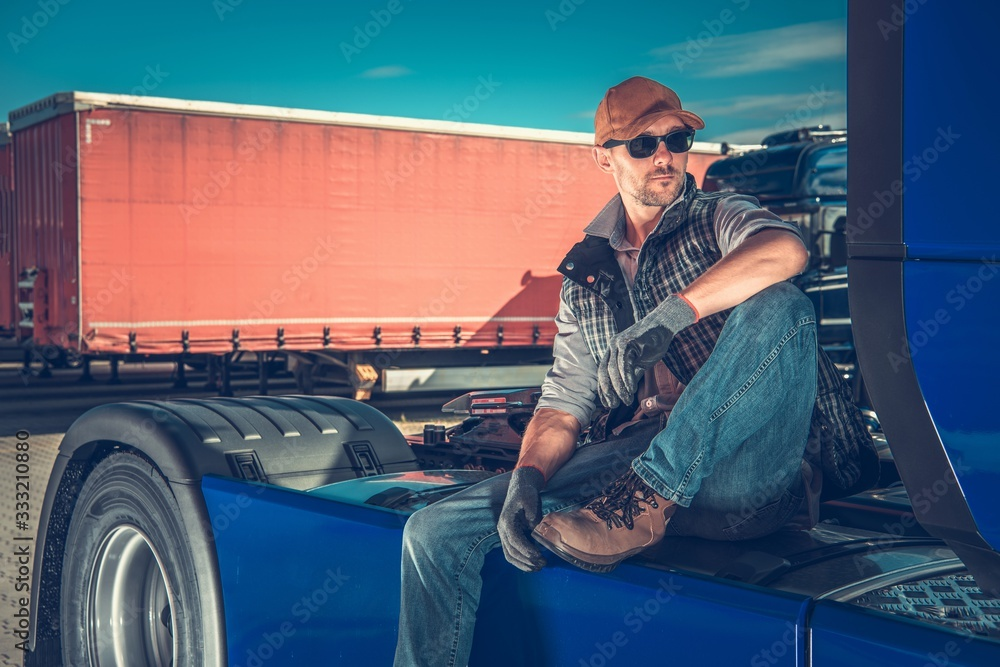 Fototapeta Truck Driver Chilling Out