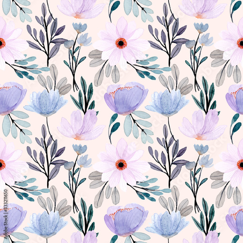 Tapeta fioletowa  soft-blue-purple-floral-watercolor-seamless-pattern