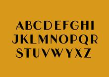 Vector Uppercase Sans Serif Mid-century Uppercase Alphabet.