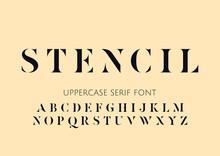 Vector Capital Stencil Serif Minimal Alphabet