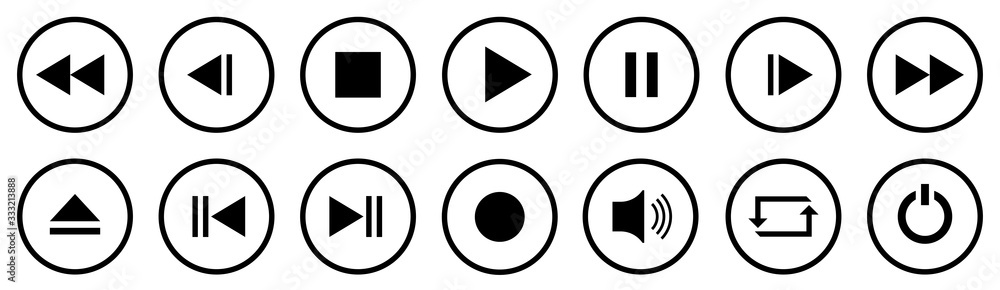 Fototapeta Media Player Buttons set. Media Player icons in circle isolated . Vector.