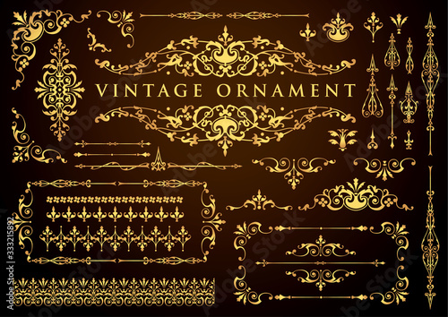 vintage ornament set. floral decorative frames and borders. - fototapety na wymiar