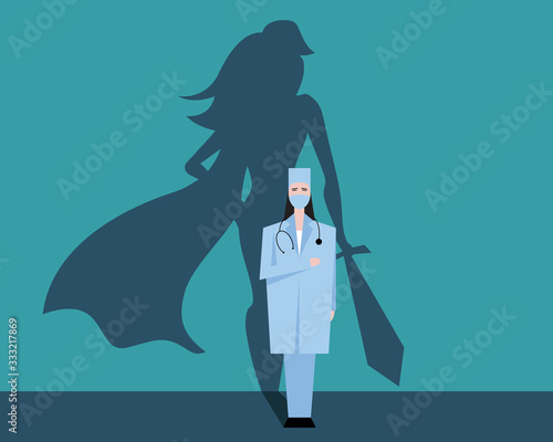 Fotomural Super woman doctor or nurse