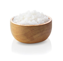 Salt In A Wooden Bowl Isolated...