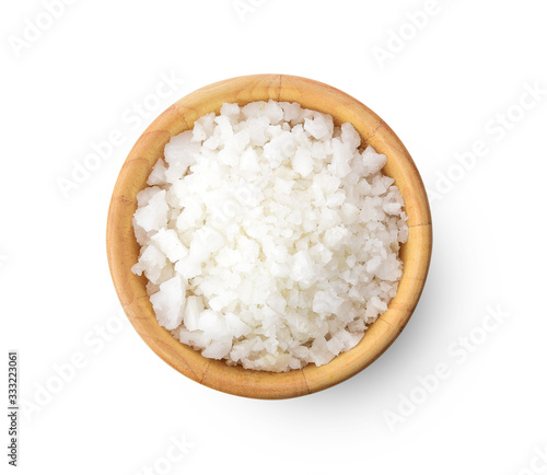 Obraz salt in a wooden bowl isolated on white background - fototapety do salonu