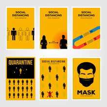 Set Of Social Distancing Viruses Prevention And Quarantine Isolation Minimalist Poster Illustration Design
