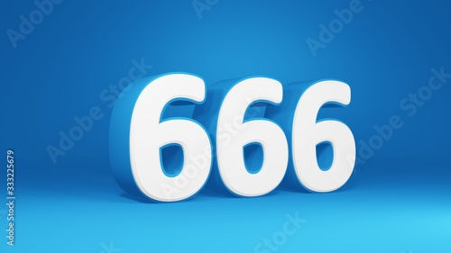 Photo Number 666 in white on light blue background, isolated number 3d render