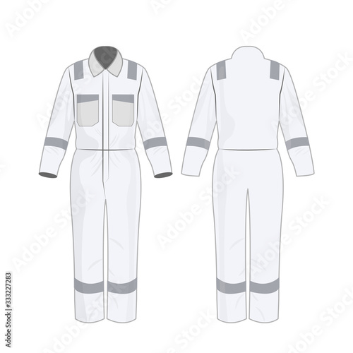 White work overalls with safety band isolated vector on the white background	 Wall mural