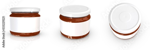 Fotografija Realistic 300ml glass jar mockup. 3d rendering