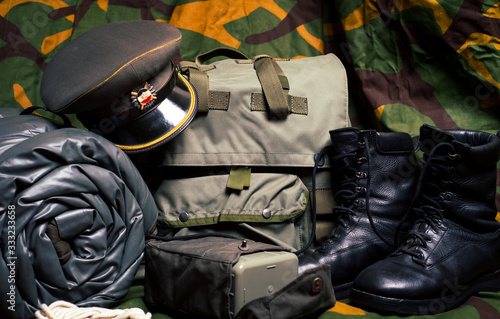 Vintage military equipment retro style