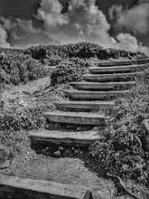 Old Wooden Steps Up Cliff. Sta...