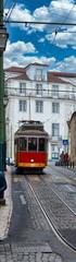 old tram running in lisbon