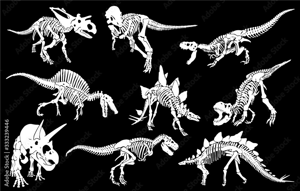 Graphical set of dinosaurs isolated on black background,vector engraved illustration