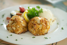 Crabcake Dinner On Plate In Re...