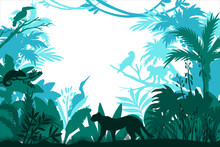 Vector Rainforest Frame With P...