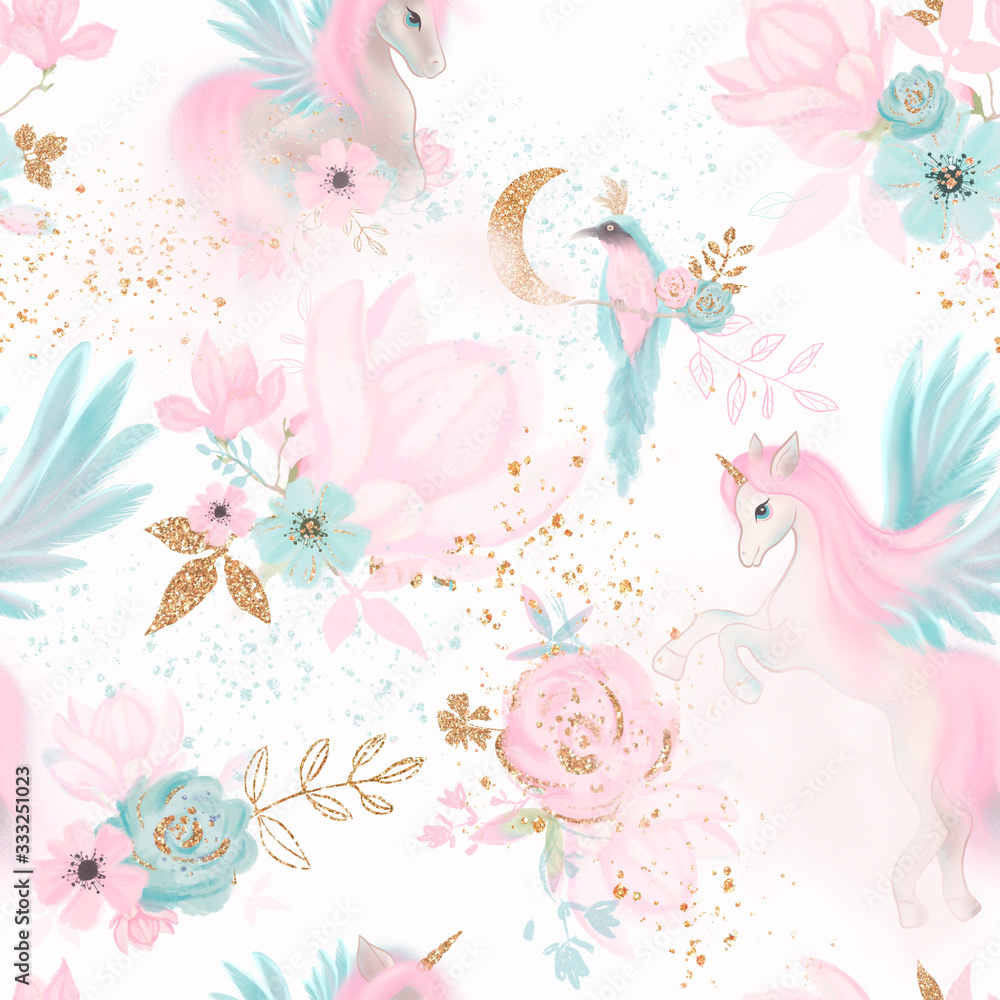 Fairy magical garden. Unicorn seamless pattern, pink, blue, gold flowers, leaves , birds and clouds. Kids room wallpaper