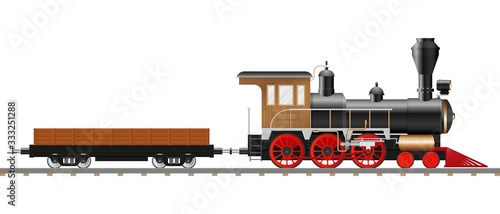 Vintage steam locomotive and wagon vector illustration isolated Fototapete