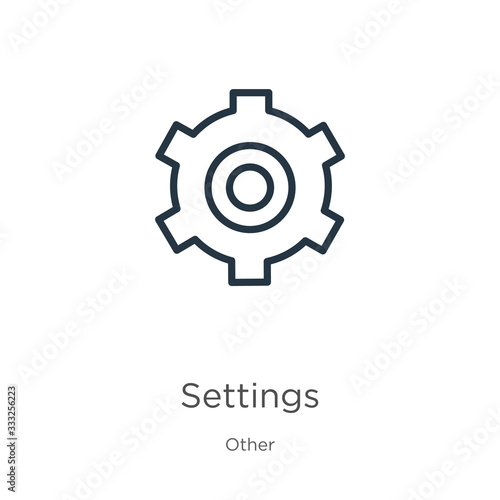 Settings icon icon. Thin linear settings icon outline icon isolated on white background from other collection. Line vector sign, symbol for web and mobile Wall mural