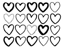Heart Form Hand Drawn Vector Illustration Speech Bubble Frame In Cartoon Style Black White Contrast