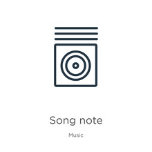 Song Note Icon. Thin Linear So...