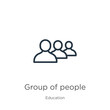 Group of people icon. Thin linear group of people outline icon isolated on white background from education collection. Line vector sign, symbol for web and mobile