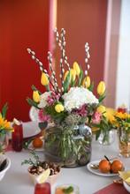 Brunch Tablescape With Floral Arrangement