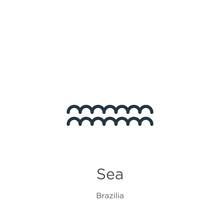 Sea Icon. Thin Linear Sea Outl...