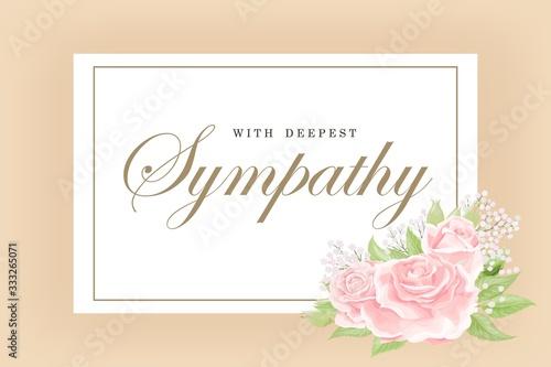 Obraz na plátně Condolences sympathy card floral cream pink rose bouquet and lettering