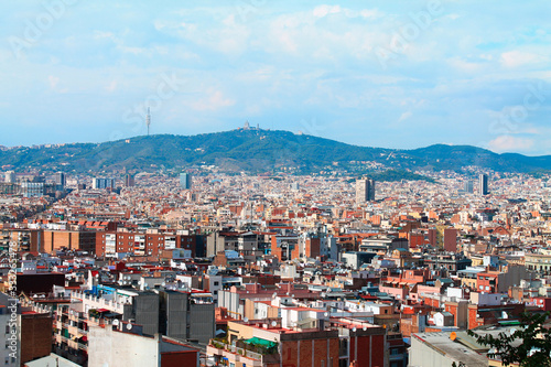 Panorama of the city of Barcelona in the summer Canvas Print