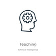 Teaching icon. Thin linear teaching outline icon isolated on white background from artificial intelligence collection. Line vector sign, symbol for web and mobile