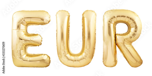 EUR abbreviation for EURO currency made of golden inflatable balloons isolated o Tapéta, Fotótapéta