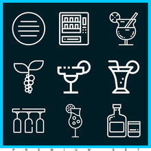 Set Of 9 Drinks Outline Icons