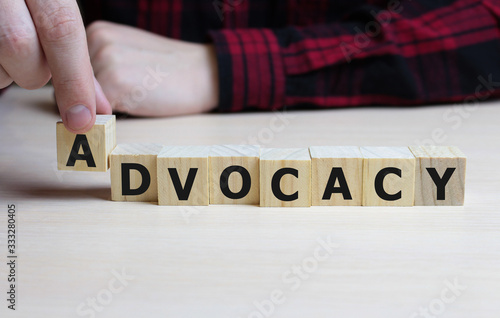 ADVOCACY word made with building blocks, business concept Canvas Print