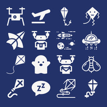 Set Of 16 Fly Filled Icons