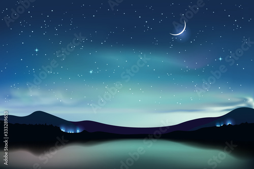 Mountain lake with dark turquoise starry sky and a crescent moon, night sky realistic background, vector illustration.