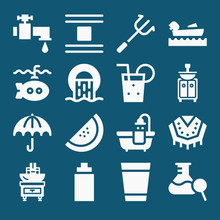 Set Of 16 Water Filled Icons