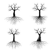Set Of Black Shape Trees With ...