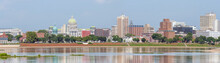 Harrisburg Panorama With State Capitol Complex And Susquehanna River, The Capital Of Pennsylvania, USA